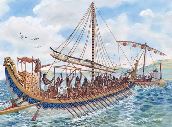 Minoan galley boarding a pirate ship in the Aegean Sea, circa 1450 BCE. The Minoans established the first thalassocracy, or maritime empire in world History. Art by Giuseppe Rava
