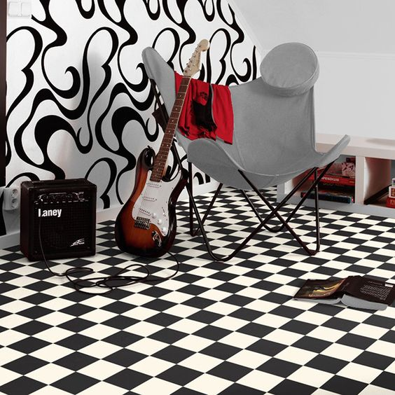 rev tement de sol pvc damier noir et blanc 4 m castorama. Black Bedroom Furniture Sets. Home Design Ideas