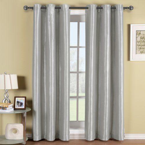 Soho Gray-Silver Grommet Blackout Window Curtain Drape, Solid ...
