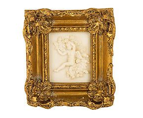 Cornice dorata con decoro a rilievo maderno - 18x19x4 cm