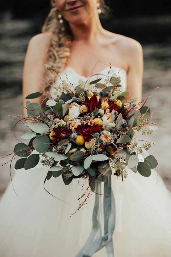 Overgrown wildflower bridal bouquet | Image by Lieben Photography