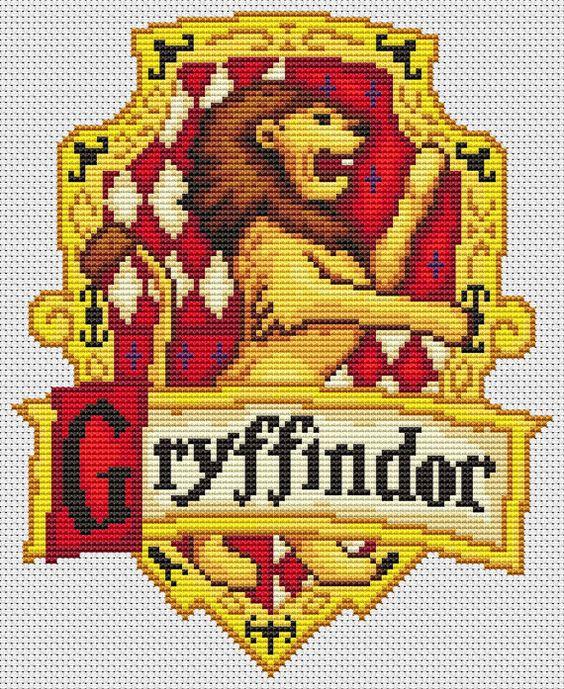 PDF Cross Stitch Pattern for the Gryffindor Crest - Harry Potter Hogwarts House Cross Stitch Chart