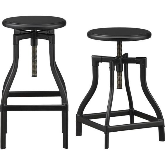 Turner Black Adjustable Backless Bar Stools And Linen
