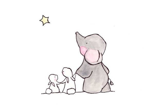 Twinkle Twinkle Little Star -- archival print, elephant nursery, childrens art…