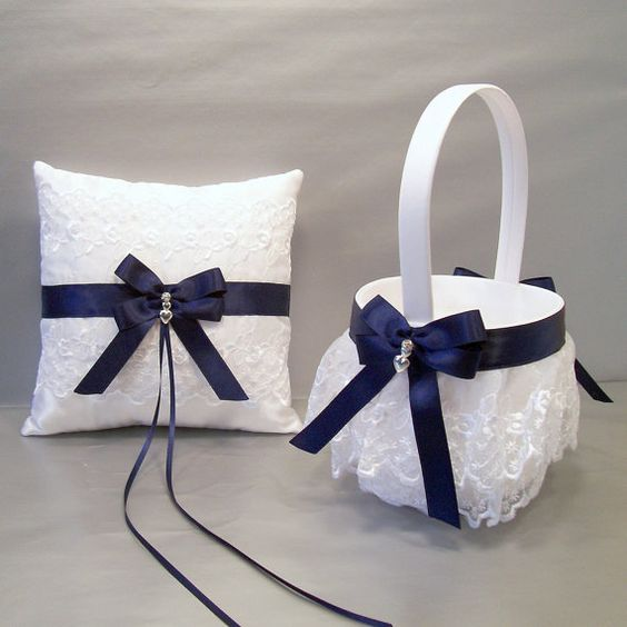 Customize your wedding with this beautiful Navy Blue on ivory or white satin and embroidered lace flower girl basket and ring bearer pillow set.
