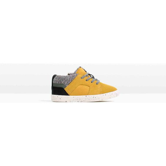Zara Zipped Fashion Plimsolls (50 CAD) ❤ liked on Polyvore featuring shoes, sneakers and mustard