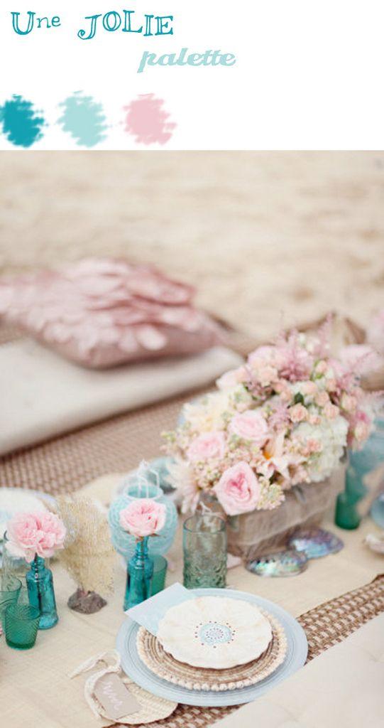 bleu canard, bleu ciel et rose poudre