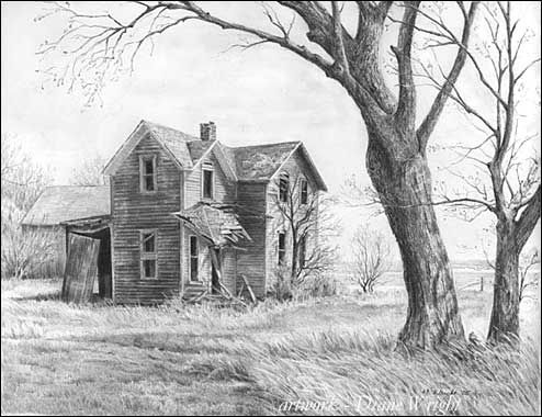 graphite pencil drawing by Diane Wright - i really want to start drawing more structures (especially old abandoned houses!)