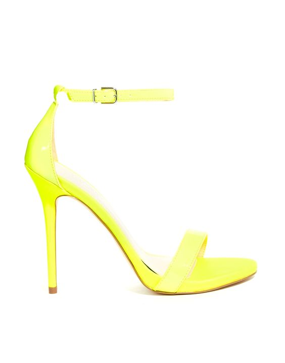 $188, Green-Yellow Leather Heeled Sandals: Carvela Glacier Single Sole Neon Yellow Heeled Sandals. Sold by Asos. Click for more info: http://lookastic.com/women/shop_items/115953/redirect