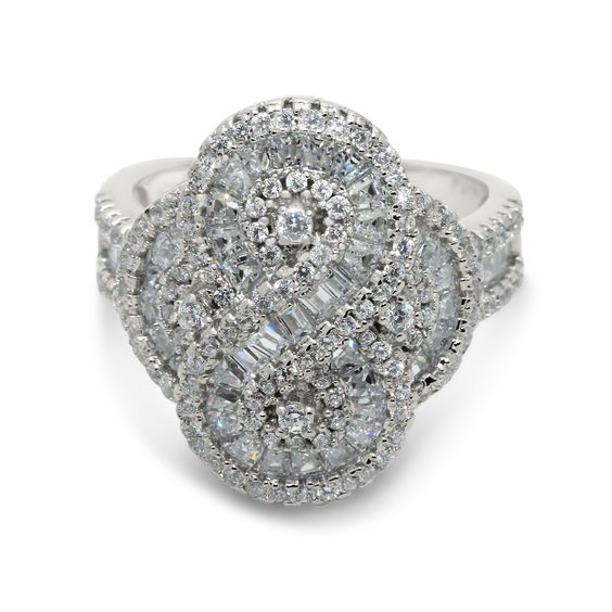 Gioelli Sterling Silver Micro Pave Swirl Cluster Cubic Zirconia Ring