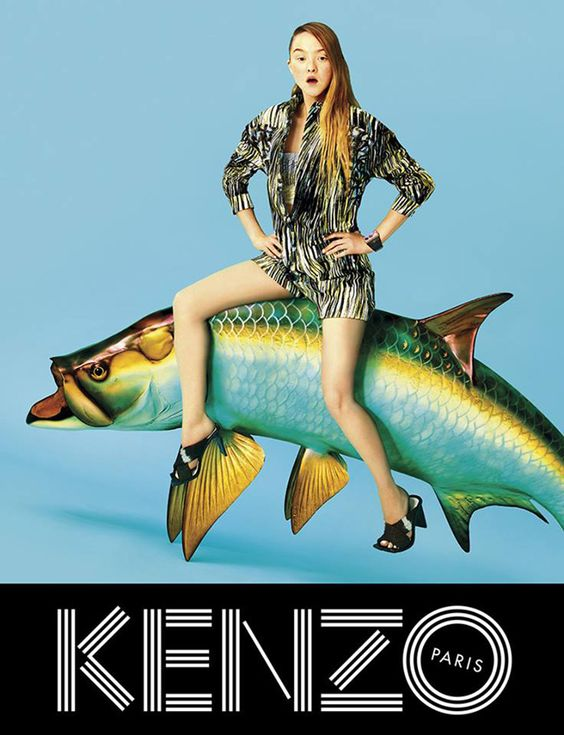 Another excellent ad from the campaign to promo Kenzo's spring/summer 2014 collection. I love their super-saturated colours, and that kind of riotous 80's abandon/silly cool. Also, put a woman on a giant fish and you'll get me every time.