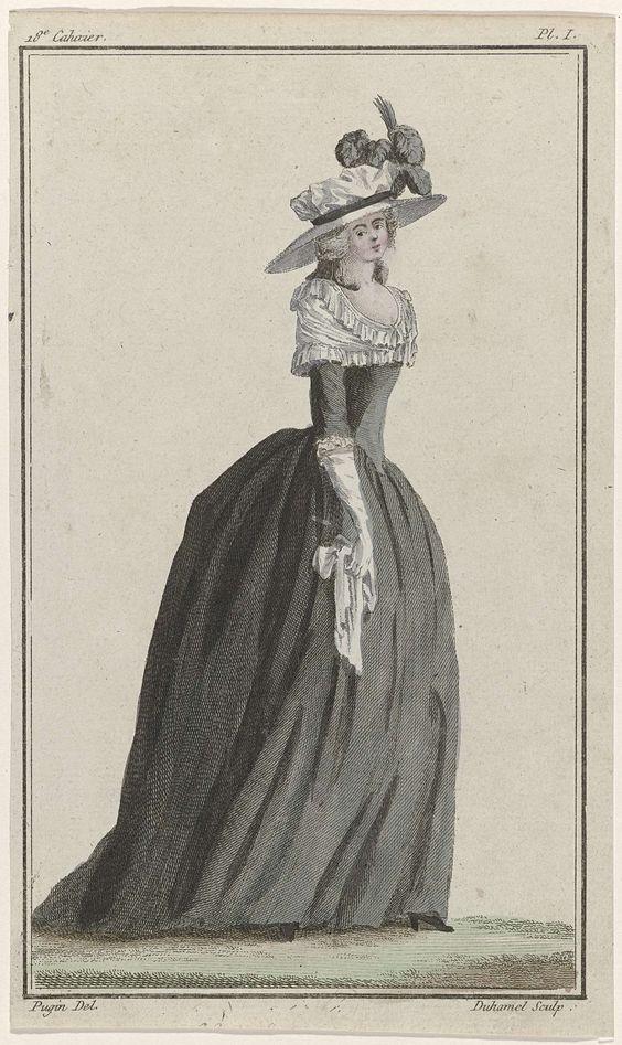 Cabinet des Modes ou les Modes Nouvelles, 1 août 1786, Pl. I, A.B. Duhamel, Buisson, 1786