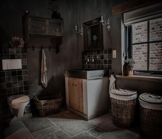 Landelijke Badkamer Met Een Hoffz Inrichting  Landelijke Badkamer  Pint # Wasbak Schaal_000641