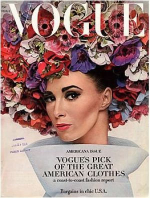 Vintage Vogue magazine cover - Vogue February 1964 - Wilhemina Cooper