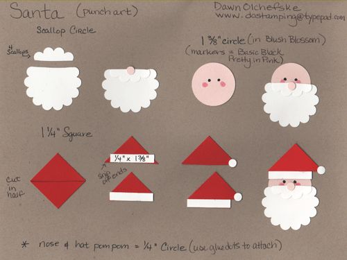 paper punch Santa   http://dostamping.typepad.com/dostamping_with_dawn/2008/12/6th-day-of-christmas-santa-punch-art-tutorial.html