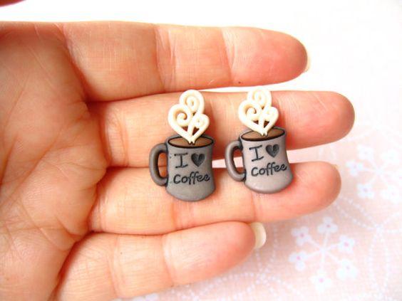 Coffee Drink Earrings Coffee Cup Earrings by simpleisabeauty