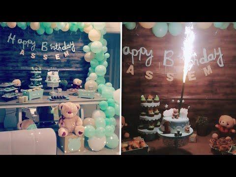 كيف تبدأ بتزين لحفلة عيد ميلاد بيبي عمر سنة بكل تفاصيل 2019 هيك حتفلنا بعيد ميلاد عاصم Youtube Desserts Cake Food