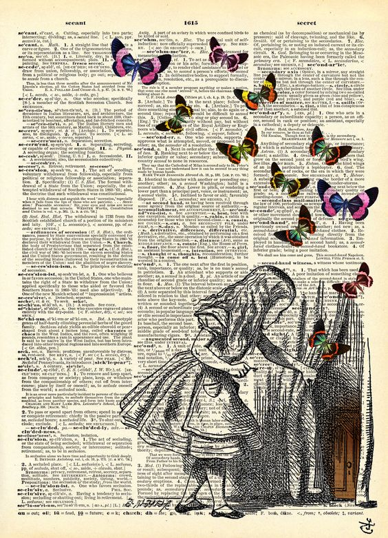 I love using old books as background.You can also do a transfer on canvas of…