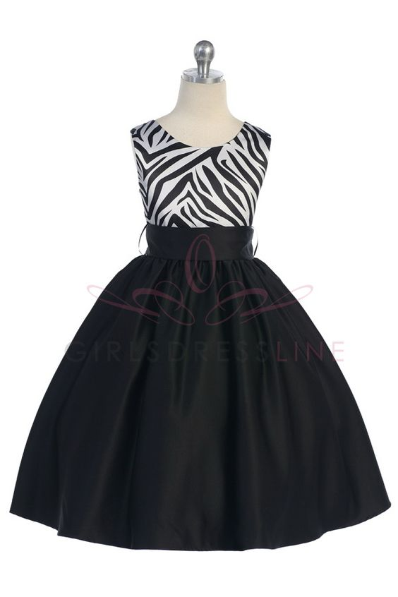 Zebra Print Satin Girls Dress T5466 $69.95 on www.GirlsDressLine.Com