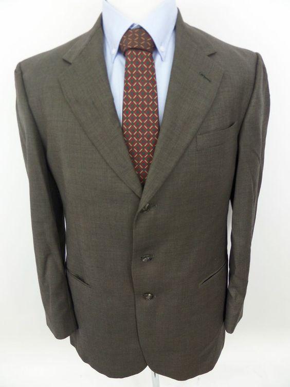 Hart Schaffner Marx $595 Herringbone Brown Wool Blazer Sportcoat 42 L #HartSchaffnerMarx #ThreeButton