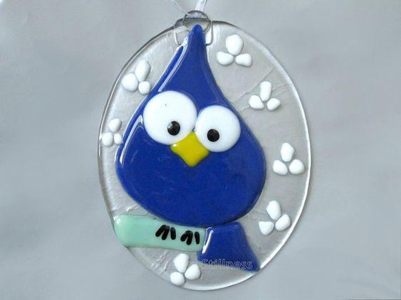 Huevo de Pascua azul pájaro vitrofusión por FleetingStillness