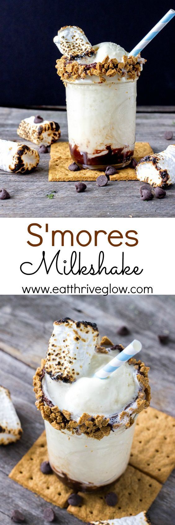 S'mores toasted marshmallow milkshake recipe with homemade fudge, vanilla ice cream, and a dark chocolate and graham cracker rim. Perfect s'mores dessert!