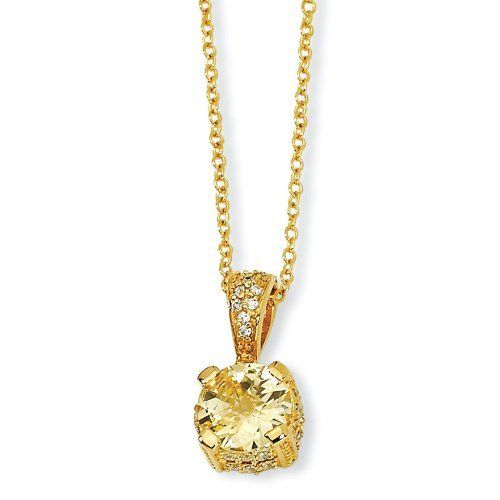 Gold-plated Sterling Silver Canary and White CZ Necklace - 18 Inch - JewelryWeb JewelryWeb. $49.60
