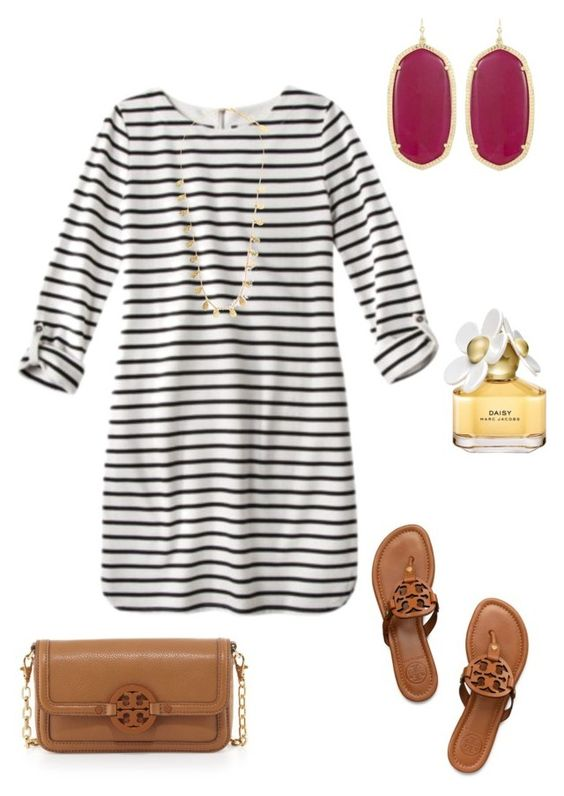 Fall preppy outfit by perfectlypreppy15 on Polyvore featuring Tory Burch, Kendra Scott, Feather & Stone and Marc Jacobs:
