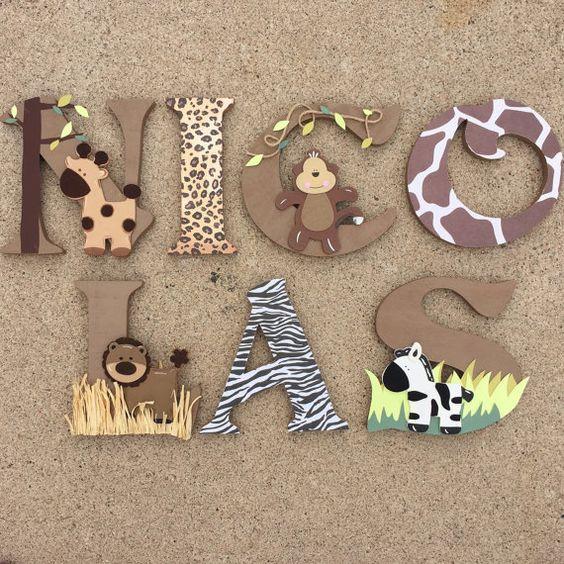 Safari Wooden Letters Animal Woodel Letters by KidMuralsbyDanaR