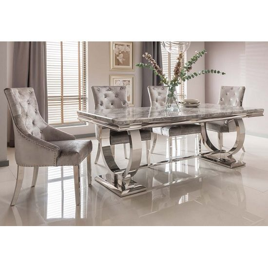 Kesley Grey Marble Top Dining Table With 4 Acton Silver Chairs Dining Table Marble Marble Top Dining Table Marble Dining