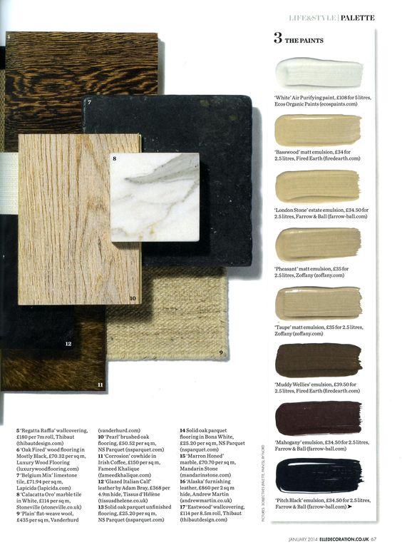 January palette featuring 'Belgium Mix' limestone from Lapicida http://lapicida.com Elle Decoration January 2014