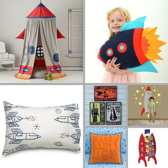 I love you to the moon and back little one!  May your room inspire you to reach for the stars!  Rocket ship canopy by Land of Nod, Rocket Ship sheets by Where the Polka Dots Roam, Rocket ship pillow by Button Owl Boutique, and wall decal by Stickystyles.  Blast Off!