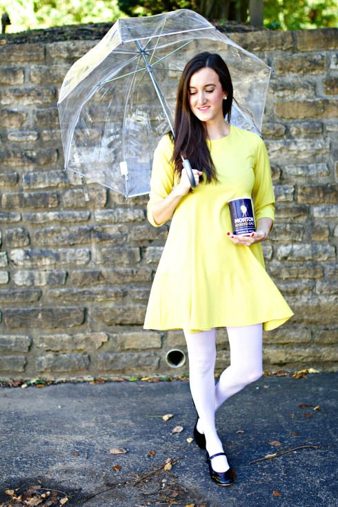 Morton Salt Girl Halloween Costume. This easy DIY Halloween costume is unique, comfortable and extremely cute!:
