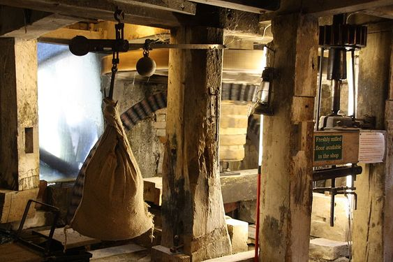 Interior of a working water mill in Lyme Regis (UK).
