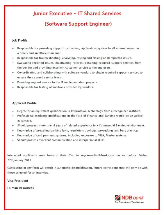 Executive IT (Information Security) at Cargills Bank Limited - vice president job description