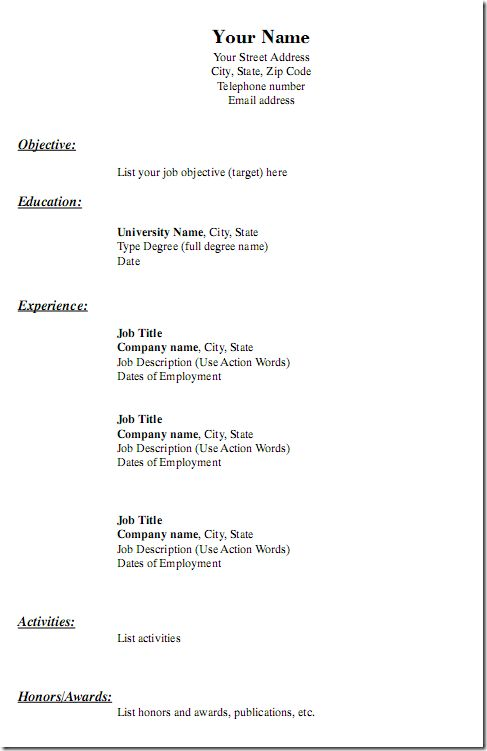 10 Ideas About Simple Resume Template On Pinterest Free Resume – Free Printable Resume
