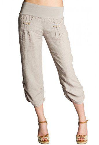 CASPAR KHS017 Pantalon 3/4 boyfriend femme en lin , Coule…