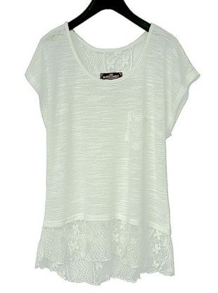 white short sleeve hollow out lace shirt