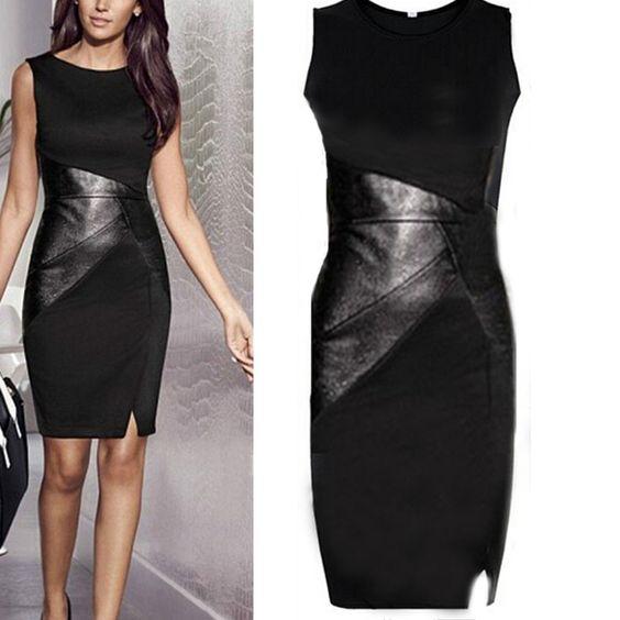 2015-Women-Celeb-Sexy-Elegant-Stretch-Leather-Midi-Bodycon-OL-Work-Pencil-Dress