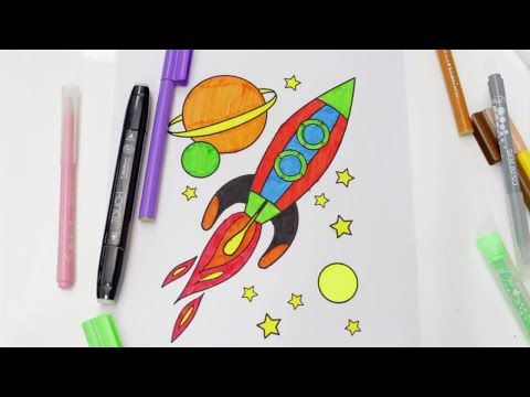 How To Draw And Color A Rocket Ship For Kids Rocket Coloring Pages For Kids Youtube Rocket Drawing Coloring Pages For Kids Rockets For Kids