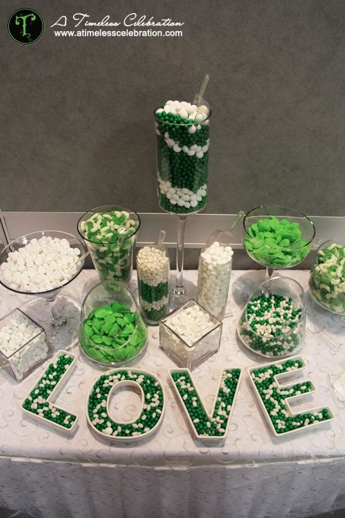 Green & white candy buffet.. possible alternative to cake... or in addition to ;)