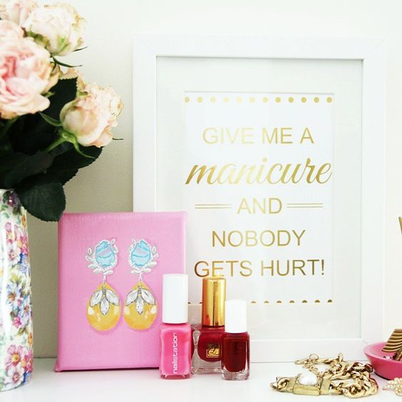 Shop framed gold foil prints and mini canvas paintings for pretty shelf inspo by Biha Designs! Worldwide shipping available!