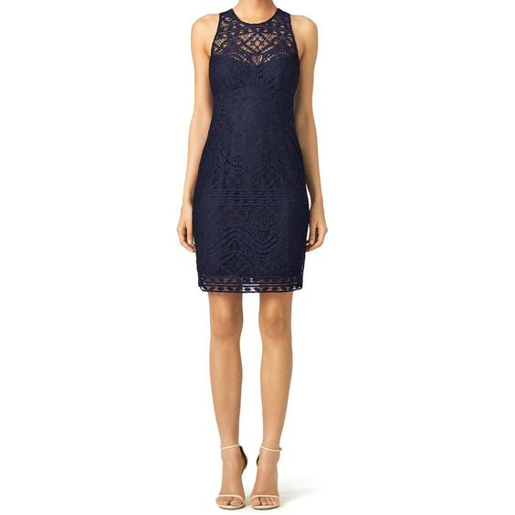 Navy cross the back lace sheath dress