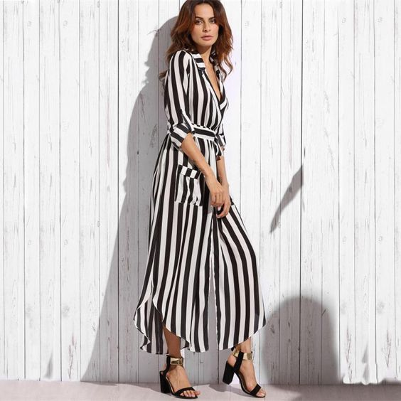 Sleeve Length(cm): Full Neckline: V-Neck Dresses Length: Ankle-Length Silhouette: Loose Style: Office Lady Sleeve Style: Regular Pattern Type: Striped Material: Chiffon Season: Autumn Waistline: Natural Color Style: Natural Color Fabric: Fabric has no stretch Material: Chiffon