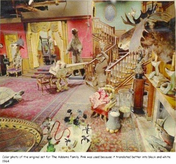 1966 04-08 Color photo of the original set for The Addams Family.