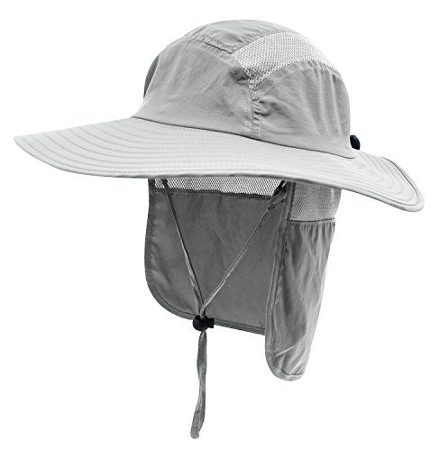 Home Prefer Mens Upf 50 Sun Protection Cap Wide Brim Fishing Hat With Neck Flap Light Gray All4hiking Com Fishing Hat Sun Hats Wide Brim Sun Hat
