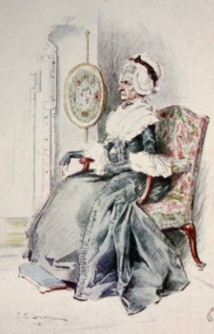 Brock, Charles Edmund (b,1870)- Pose- Older Woman Sitting, Inside (Sm-418x650)