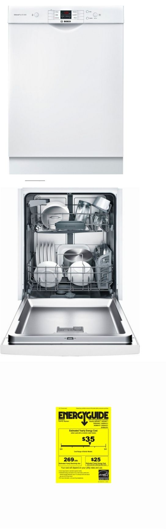 Dishwashers 116023 Bosch She3ar72uc Stainless Steel Tub White Energy Star 6 Wash Cycles 50dba Buy It Now Only 479 On Ebay D Steel Tub Bosch Energy Star