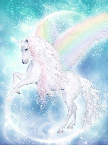 Rainbow Pegasus Poster By Gaby Shayana Hoffmann In 2021 Unicorn Poster Unicorn Pictures Unicorn Wallpaper Cute