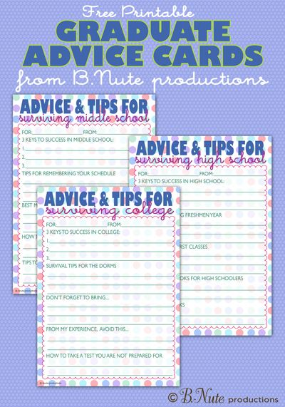 Free Printable Graduate Advice Cards - College, High School, and Middle School Editions from bnute productions